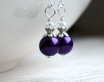Bridesmaid Earrings, Dark Purple Earrings, Bridesmaids Jewelry, Flower Girl Jewelry, Purple Pearl Jewelry, Dark Purple Wedding Party