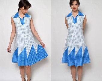 Vintage 70's White Polka Dot Dress
