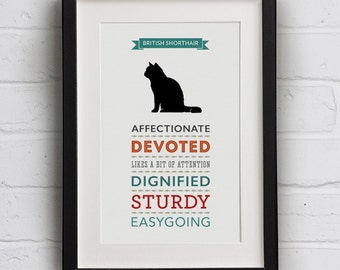 British Shorthair Cat Breed Traits Print - Great Gift for British Shorthair Cat Lovers