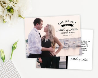 Simple Wedding Save The Date with Banner