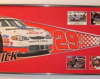 NASCAR driver #29 Kevin Harvick Pennant & Cards...Custom Framed!
