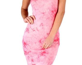 Strapless Dress,Strapless Midi,Pink Strapless,Pink Midi,Pink Knee Length,Pink Dress,Pink Tie Dye Midi, Gift for Her, Valentines Dress, Gift