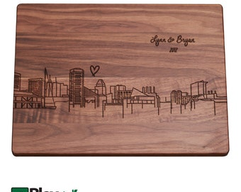 Baltimore MD Skyline Personalized Engraved Cutting Board,Personalized Wedding Gift,Custom Cutting Board,Wedding Gift,Christmas Gifts
