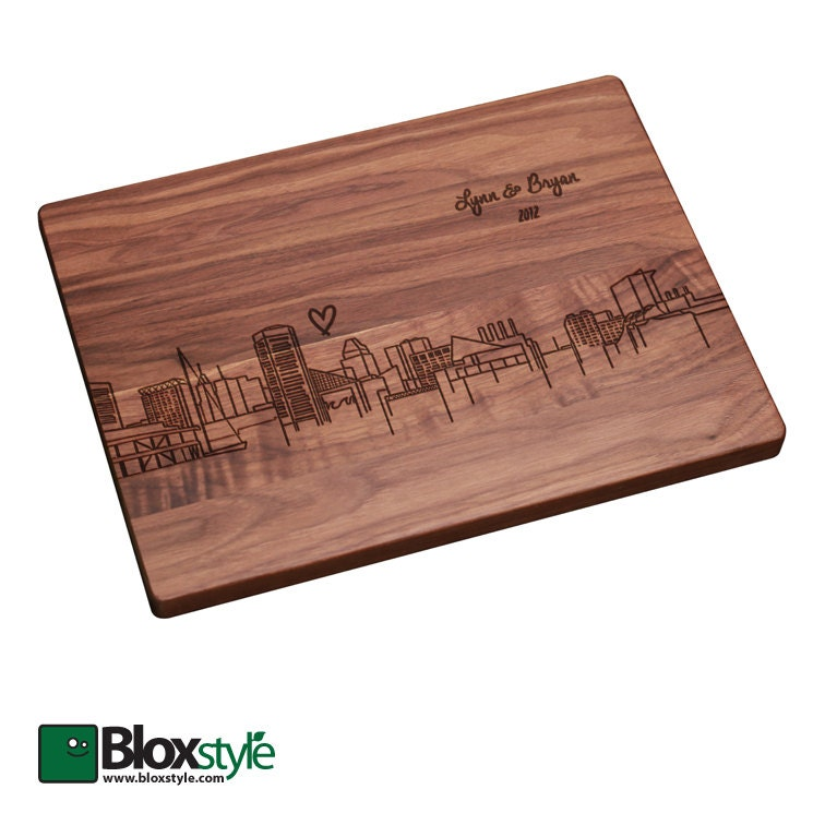 Baltimore Skyline Personalized Engraved Cutting Board