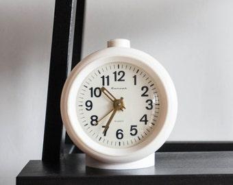 White Alarm Clock, Soviet Desk Clock, Jantar Soviet Union Home Decor, Office Decor Plastic Case