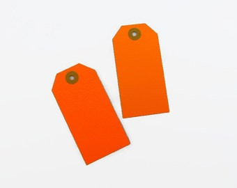 SALE!  10 Orange Neon Gift Tags / Luggage Labels