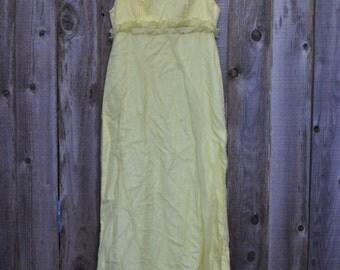 1950s Vintage Small Yellow Ruffle Dress