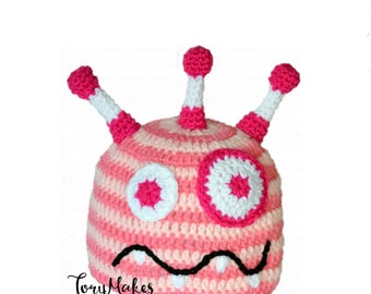 Baby Girl Monster Hat, Silly Baby Hat, Pink Stripe Hat, Baby Beanie, Toddler Monster, Little Monster Cap, Girls Beanie, Crochet Silly Hat