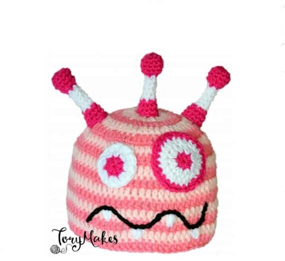 Girls Monster Hat, Baby Girl Crochet Hat, Toddler Knit Hat, Girls Silly Beanie, Pink Monster Striped Hat, Summer Character Hat, Infant Hat