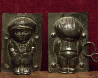 antique two part chocolate mold of a boy