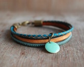 Orange Thyme * Braided leather bracelet // womens boho leather bracelet // stacking wrap bracelet //  gifts for her // fall fashion