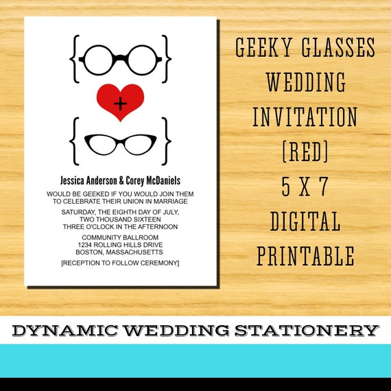 diy printable geeky glasses wedding invitation by With diy geeky wedding invitations