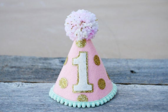 Girls Pink Gold And Mint Small First Birthday Polkadot Party - Small first birthday cakes