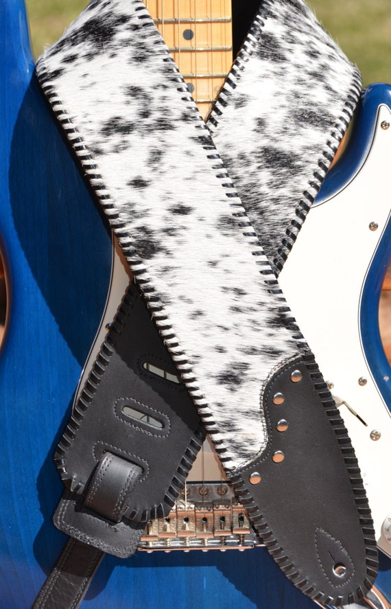 leather guitar strap beautiful black and white by vickidesignsca. Black Bedroom Furniture Sets. Home Design Ideas