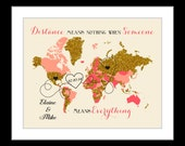Going Away Gift Bon Voyage Leaving Moving Farewell: Personalized Map State Art Glitter Print Long distance wedding Present Quote Heart names