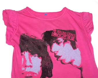 The Rolling Stones Unique Vintage Pink Womens T-shirt Aplified, Black and Blue, Mick Jagger and Keith Richards, Very Rare!