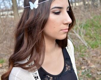 Butterfly Head Piece // Headdress // Bohemian Head Accessory // Headband // Butterfly Hair Accessory // Boho Head Chain