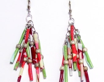Earrings with fabric and silver silversmithy beautiful colours.