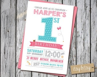 1st Birthday Invitation Girl, Garden Party, Printable First Birthday, 1st, 2nd, 3rd, 4th or 5th Birthday Party, polka dots, pink, ladybird,