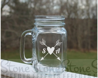 Etched Mason Jar, Heart, Arrow, Initials, mason jars, monogram, Etched Glass Mugs, 16oz , Etched Wedding Mug, Etched Mugs, bride, groom