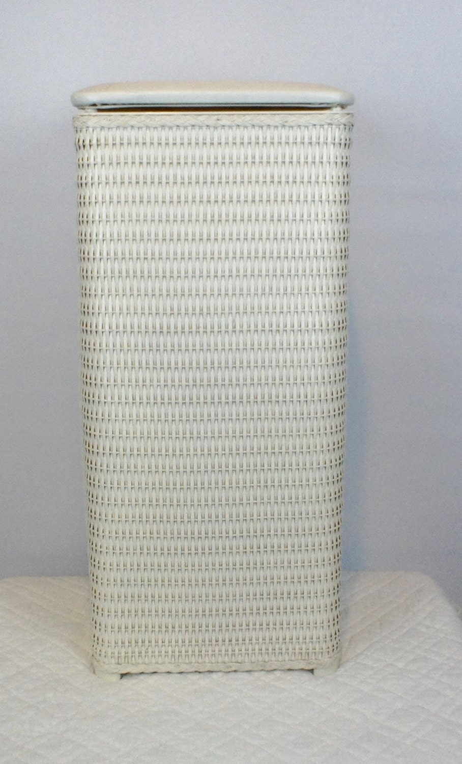 Vintage square white wicker woven hamper trash can with padded - White wicker clothes hamper ...