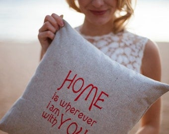 Home quote pillow in Hemp and Organic Cotton