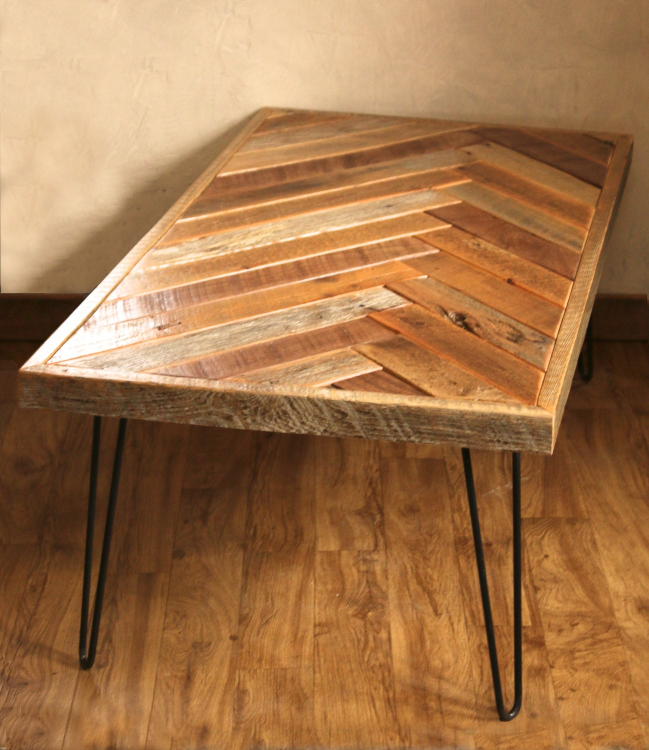 Barn wood coffee table herringbone table hairpin legs for Table design patterns