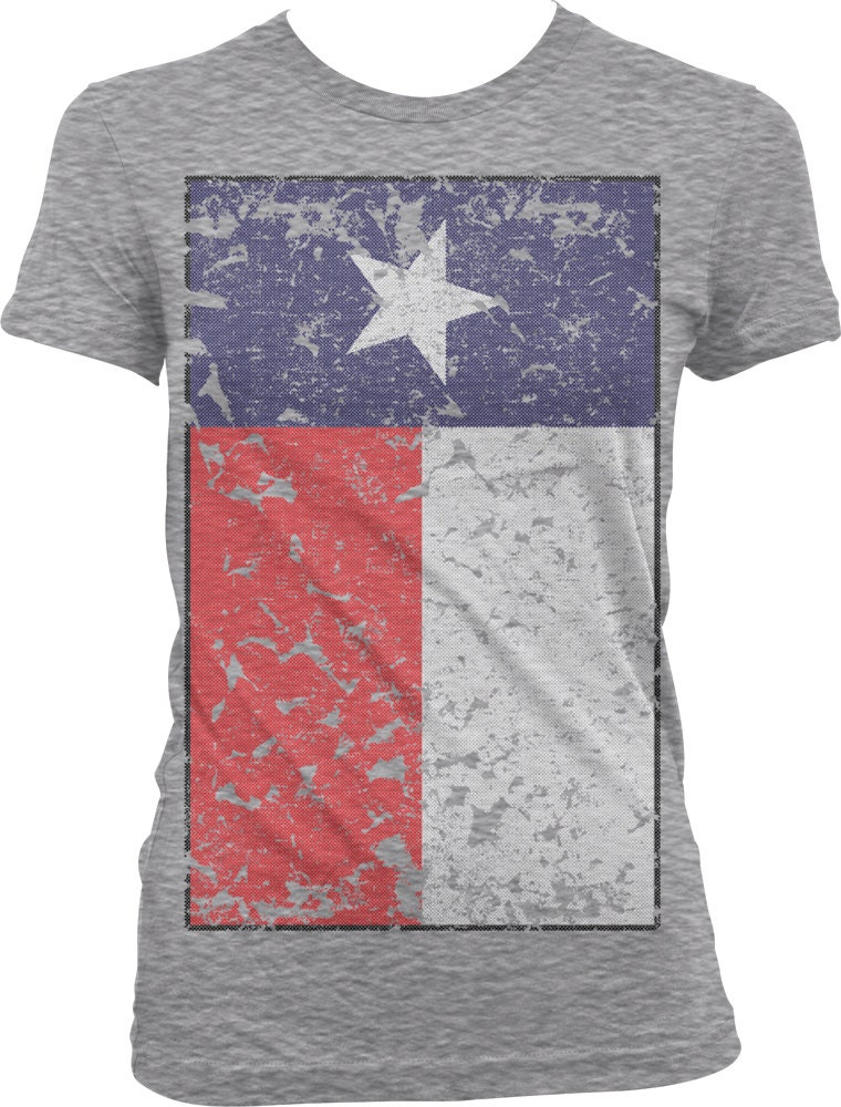 Texas flag ladies t shirt oversized faded texas state flag for Custom t shirts austin texas