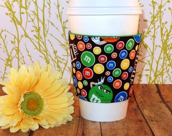 Fabric Coffee Cozy / Little M and M's Coffee Cozy / M and M's Coffee Cozy / Coffee Cozy / Tea Cozy