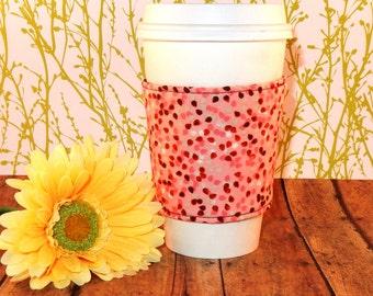 Fabric Coffee Cozy / Peach Speckles Coffee Cozy / Peach Coffee Cozy / Coffee Cozy / Tea Cozy