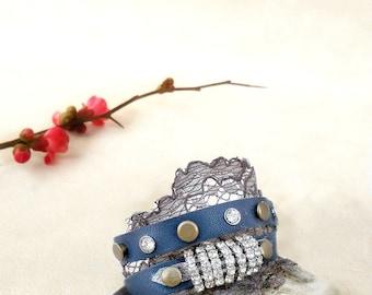 Dark  blue wrap bracelet, blue leather lace cuff, rhinestone leather bracelet, boho jewelry