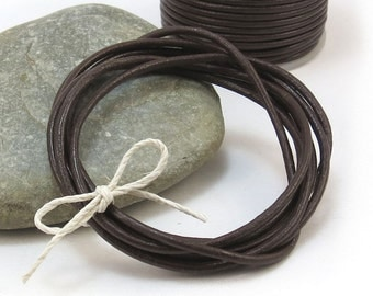 Brown Leather Cord, 2mm Chocolate Brown Cord, 5 Yards Dark Brown Leather Cord, 2mm Brown Cord, Leather Necklace Cord, Item 292ct