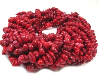 Red Bamboo Coral Beads, Red Coral Bead Strand, 16-inches - Beading Supplies, Item 468gs