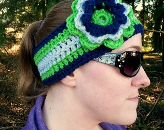 Seattle Seahawks Navy, Gray and Lime Green Crochet Head Wrap Ear Warmer With Flower - Adult-Sized - Taking Orders - Custom Colors Available