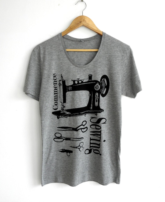Screen printed t shirt grey t shirt vintage sewing by kapotka for Vintage screen print t shirts