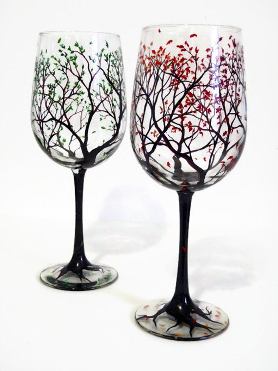 Wine glasses hand painted tree falling leaves autumn fall for Hand designed wine glasses