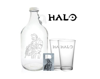 """Halo Growler 64oz- Beer Growler with Halo Characters Engraving- """"Halo Master Chief"""""""