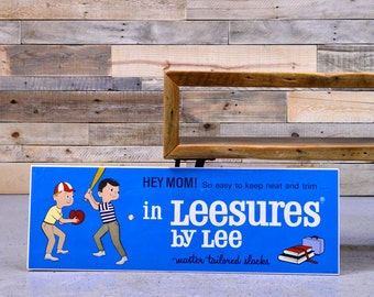 Lee Jeans Advertising Sign, Leesures by Lee, Denim Advertising, 1950s