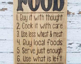 FOOD - Wooden Kitchen Sign