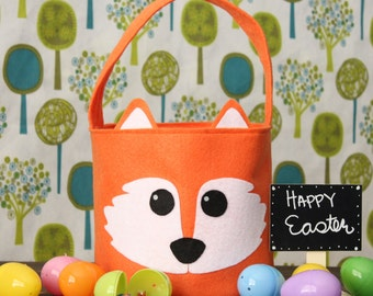 Monogrammed fox easter basket felt woodland fox easter basket woodlandwoodland animals easter basket ideas easter gift ideas negle Image collections
