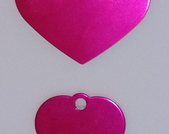 Hot Pink Heart Aluminum Engraved Dog or Pet ID Tag