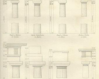 Architecture Doric Order No 2 Antique Steel Engraving Print 1823 Architecture Vintage Print Wall Art Home Decor