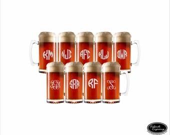 NINE Personalized Beer Glasses, SHIPS FAST, Custom Engraved Beer Mugs, Etched Monogrammed Beer Mugs, Wedding Glasses, Groomsman Glasses