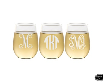 THREE Monogram Wine Glasses, SHIPS FAST, Personalized Monogrammed Wine Glasses, Engraved Stemless Wine Glasses, Custom Etched Wine Glasses