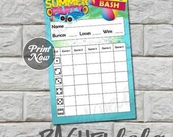 Summer Bunco score card, instant download, Buy 2 Get 1 FREE