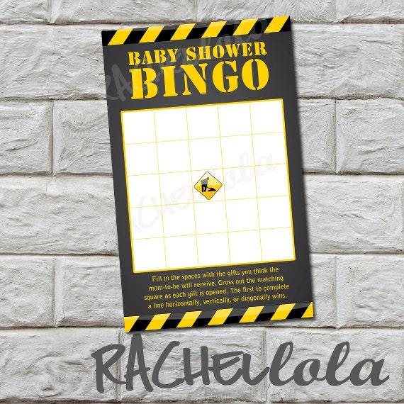 instant download construction baby shower bingo