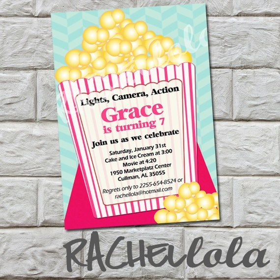 girl popcorn birthday invitation do