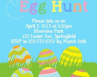 Happy Easter Egg Hunt Invitation, Digital File