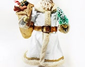 White Santa, Vintage Clothtique Possible Dreams Santa,  White Christmas Collectible Figurine