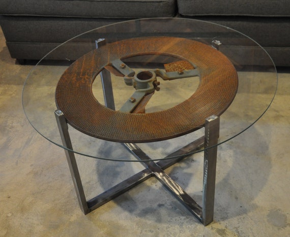 Round Industrial Coffee Table With Glass Top
